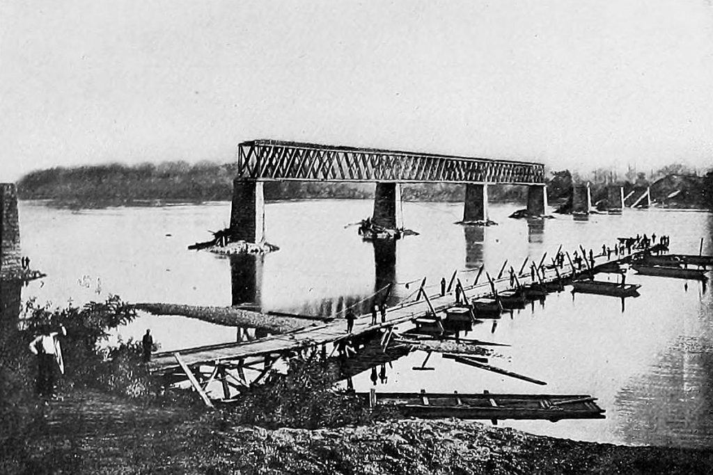 Railway bridge in Bridgeport destroyed by retreating Confederates 1861