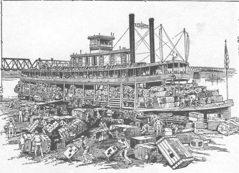 drawing of riverboat and men loading crates