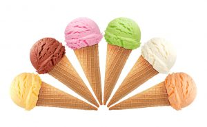 Different flavors of ice cream. Yum.